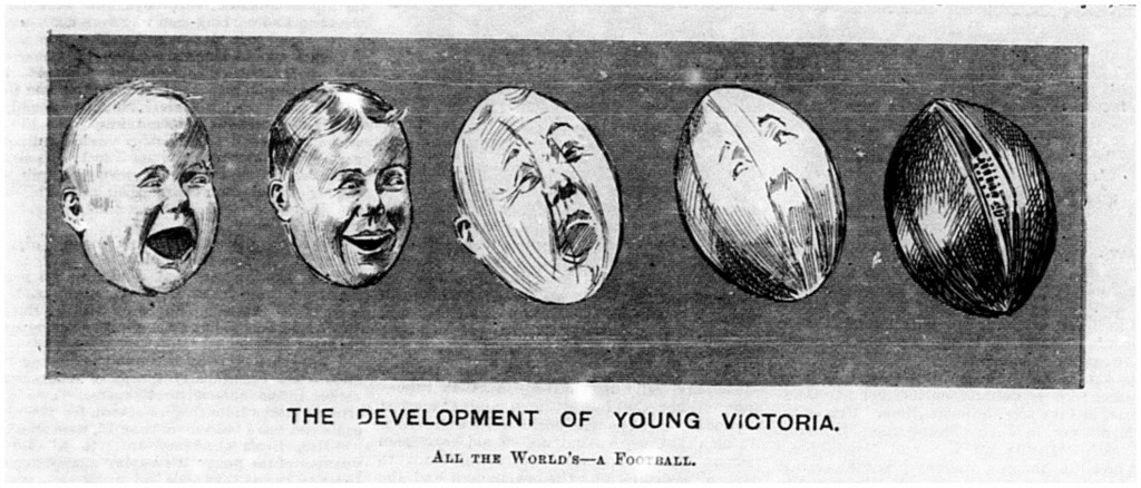 The spread of football mania in Victoria was depicted in the Melbourne Punch