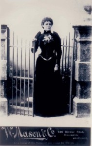 Black and white full length studio portrait of Martha Needle.