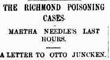 Newspaper headline on the Richmond poisoning cases that appeared in The Argus.
