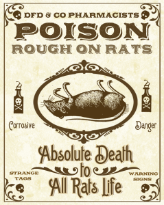 Advertisement for rat poison called 'Rough on Rats'.