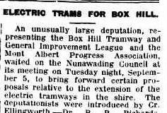 The article announcing the arrival of electric trams in Box Hill.