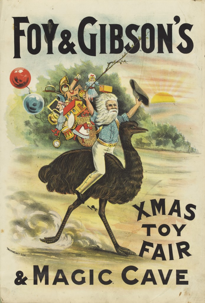 Foy & Gibson's Xmas Toy Fair & Magic Cave poster of santa