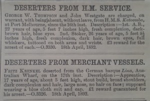 Deserters from merchant vessels April 1892