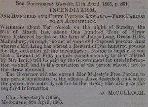 Incendiarism. Victoria Police Gazette April 13 1865 p 166