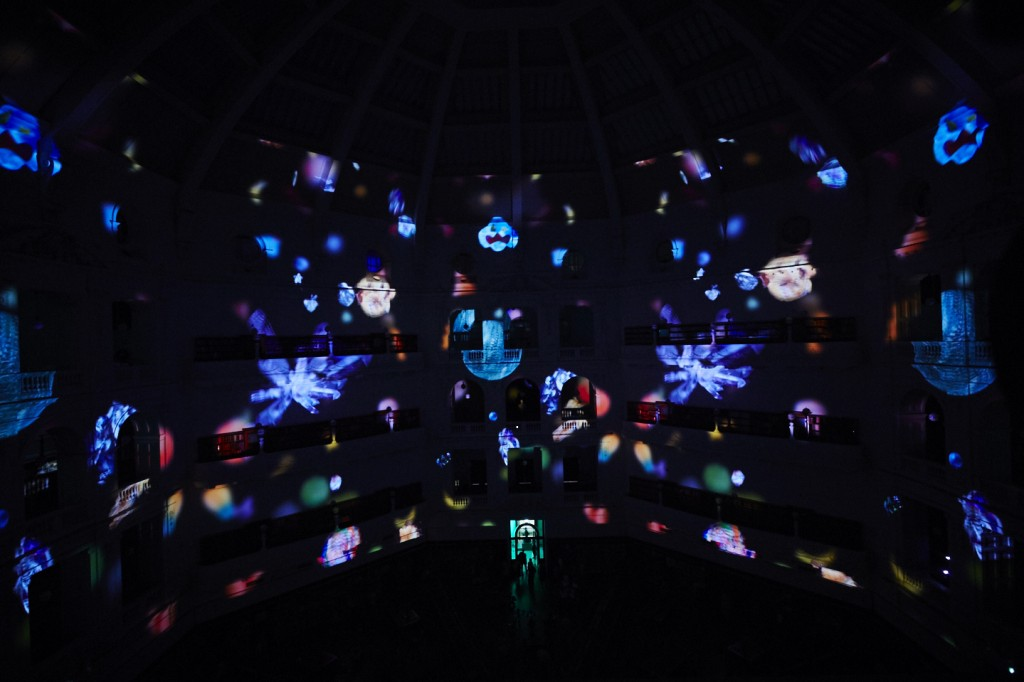 Light projections inside the domed reading room