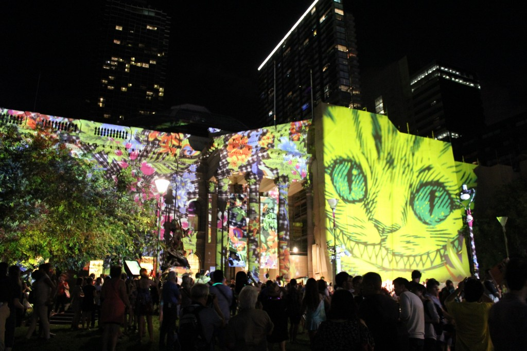 Library facade lit up for White Night Melbourne