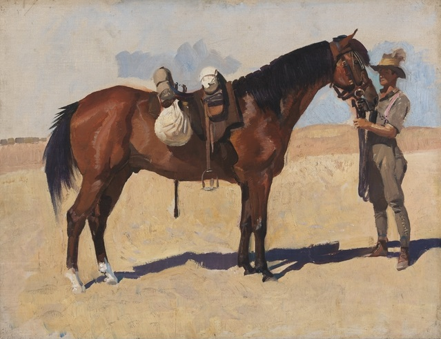 Oil on canvas depicting Private George Shelton Lambert, a groom with 11th Light Horse Regiment, holding a troop horse. The horse and rider are in a desert landscape.