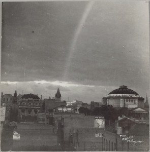 State Library of Victoria after a storm: The Argus, c. 1934