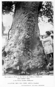 Ola Cohn at work on her Fairy Tree: Argus photograph