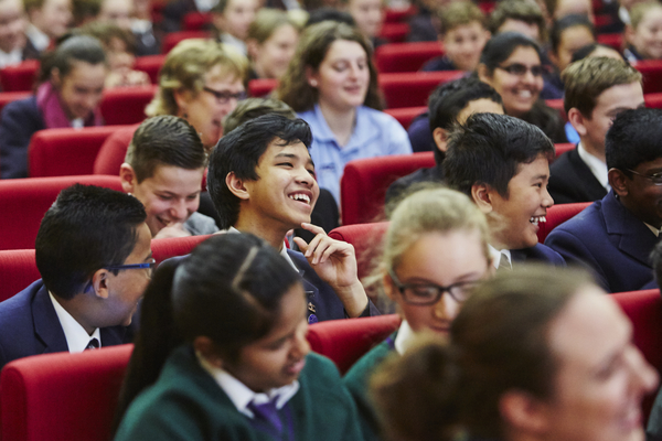 Children laughing at the Reading Matters conference
