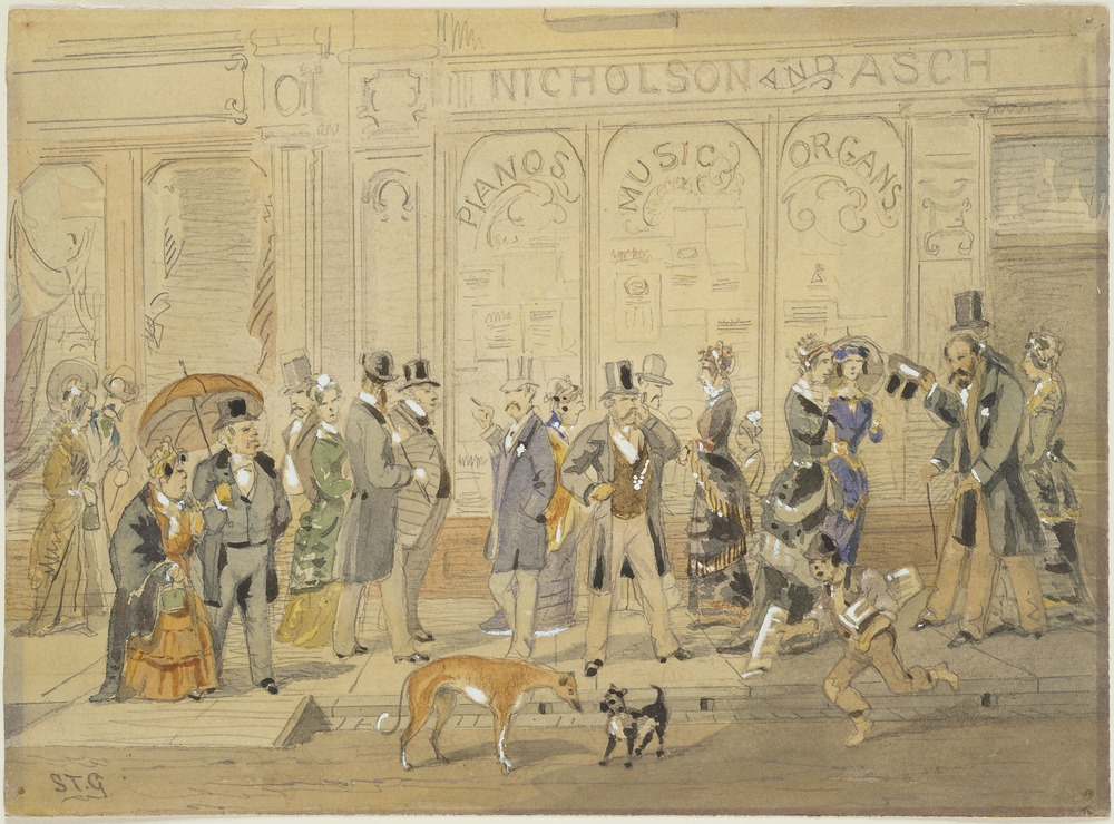 Doing the Block. Gt Collins St, 1880, watercolour State Library Victoria