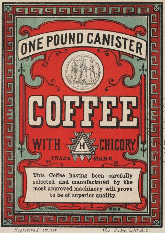 Red 'One Pound Cannister' coffee label