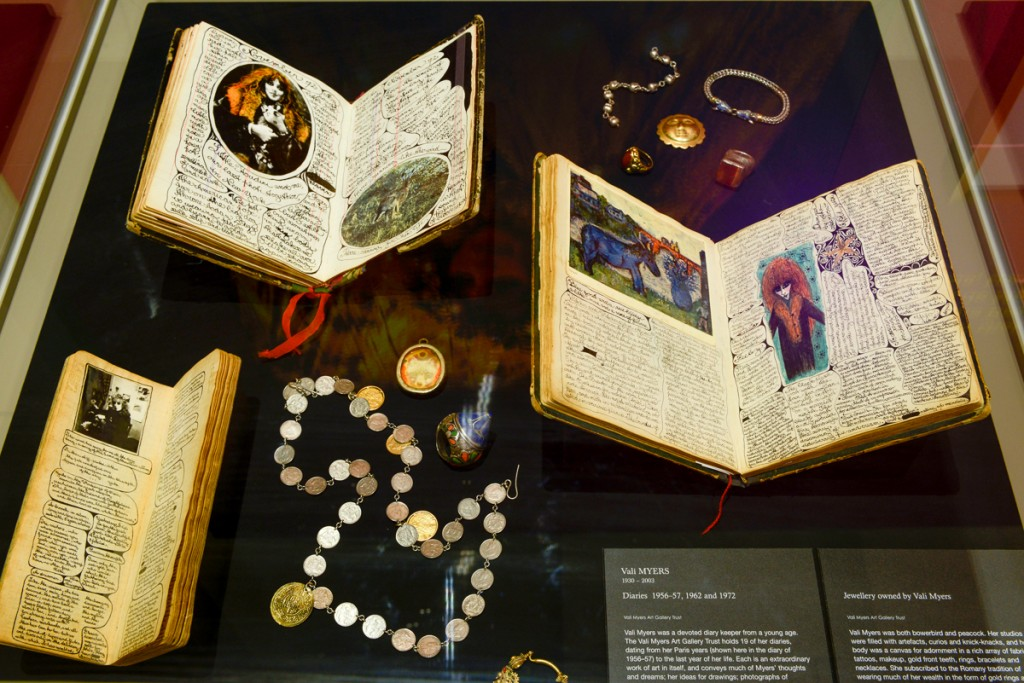 Case of items within the Bohemian Melbourne exhibition