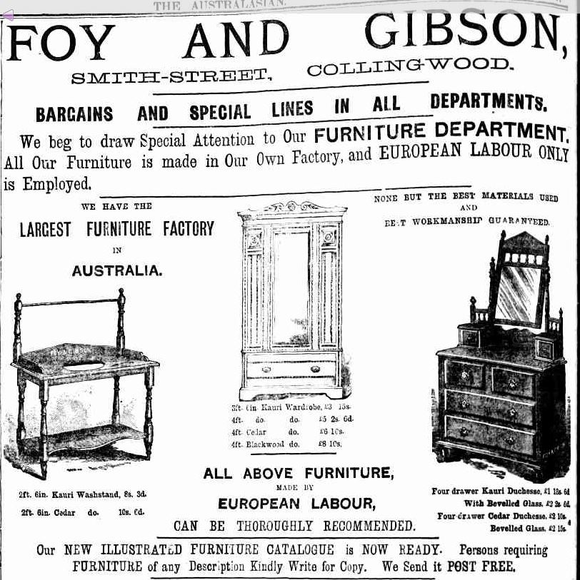 Legislation Was To Distinguish Between Furniture Made In Victoria By Chinese Workers And That Europeans Meaning Australians Of European Origin