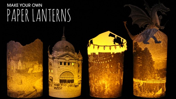 Photo of 4 paper lanterns made from images in the library collection