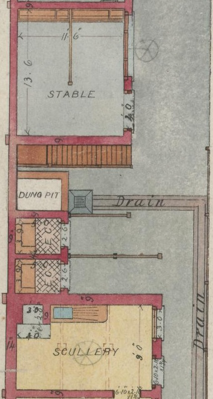 Detail of coloured architectural drawing featuring two earth closets, a dung pit, a stable and scullery.