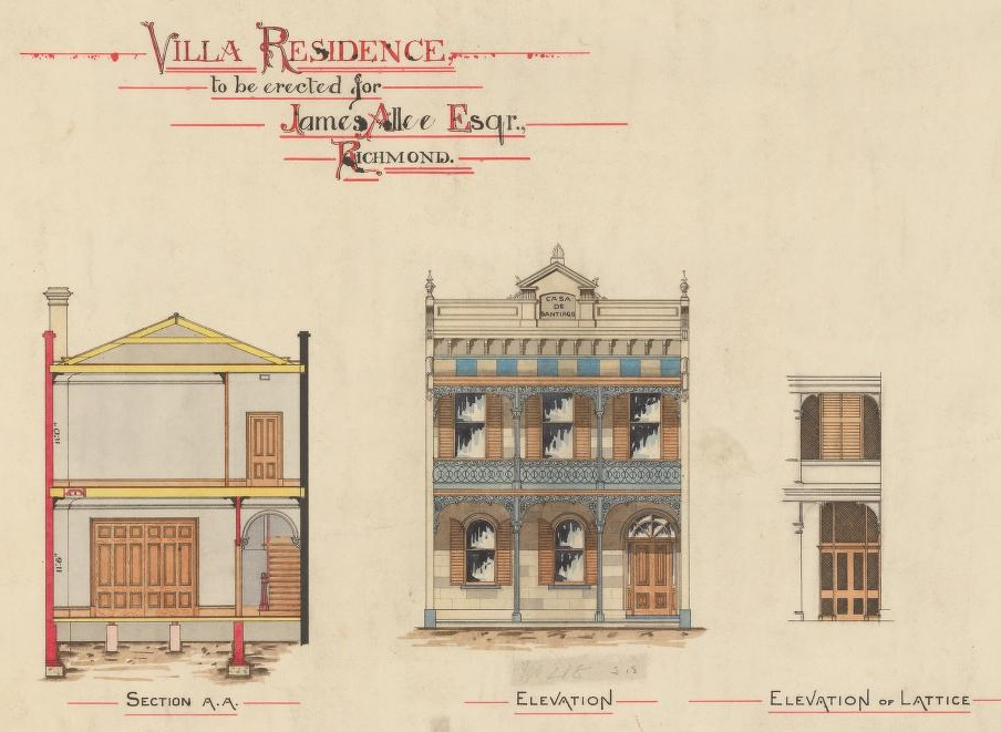 Detail of coloured architectural drawings showing It is a two storey Victorian terrace house with pedimented parapet and cast iron verandah & balcony; also side elevations.