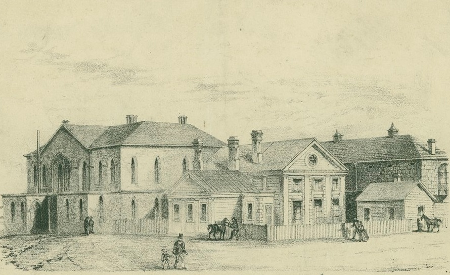 Lithograph showing Supreme Court buildings on the corner of Russell and La Trobe Streets Melbourne in 1853.