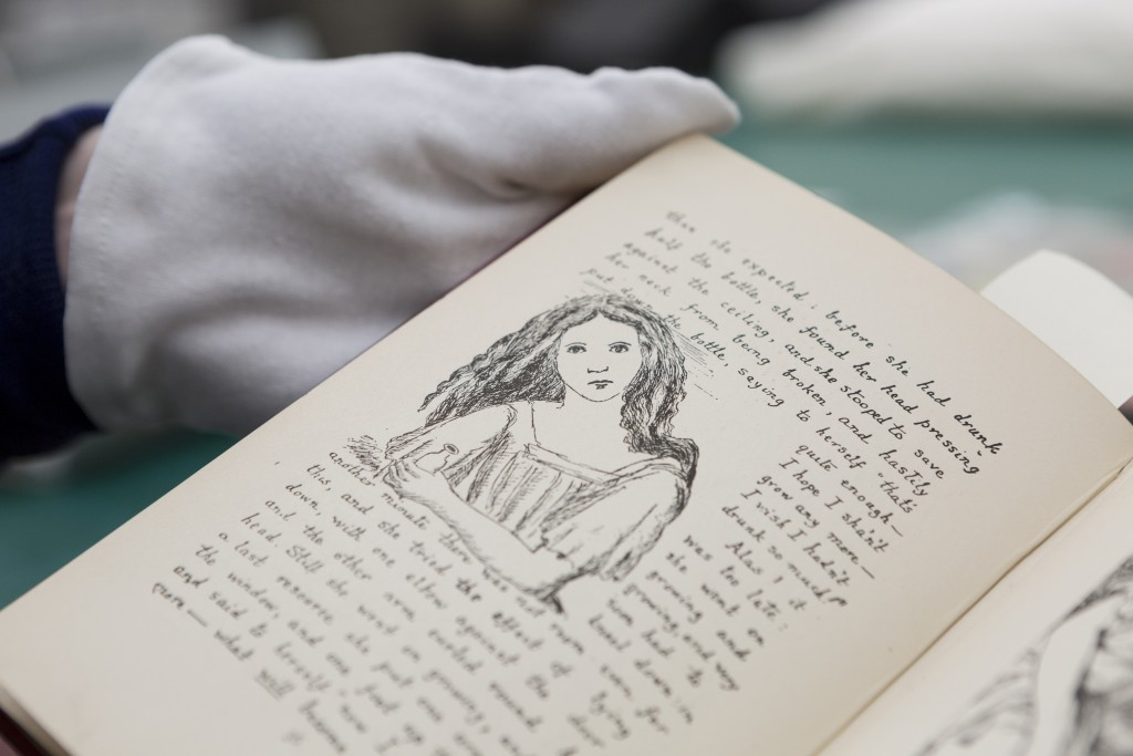 Alice In Wonderland- First Editions of Alice in Wonderland, Alice's Adventures Underground, and Through The Looking Glass, acquired by the State Library of Victoria. Photographs Teagan Glenane