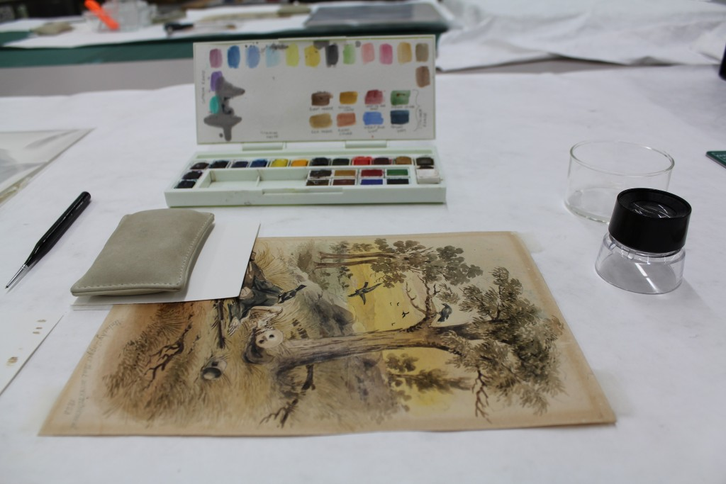 Image of tools used by the conservation team to retouch an image
