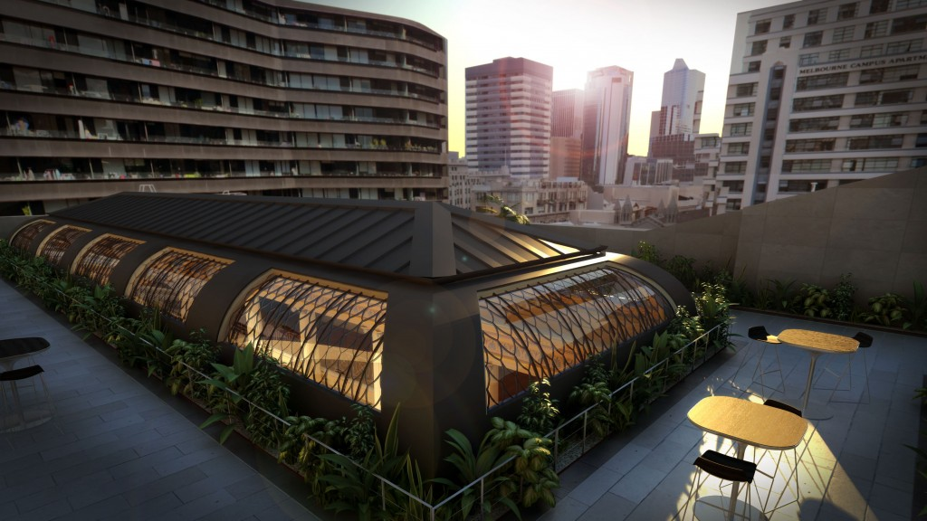 Image of artist impression of proposed rooftop terrace as part of Vision 2020 redevelopment of State Library Victoria.