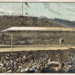 Packed grandstand at the 1881 Melbourne Cup