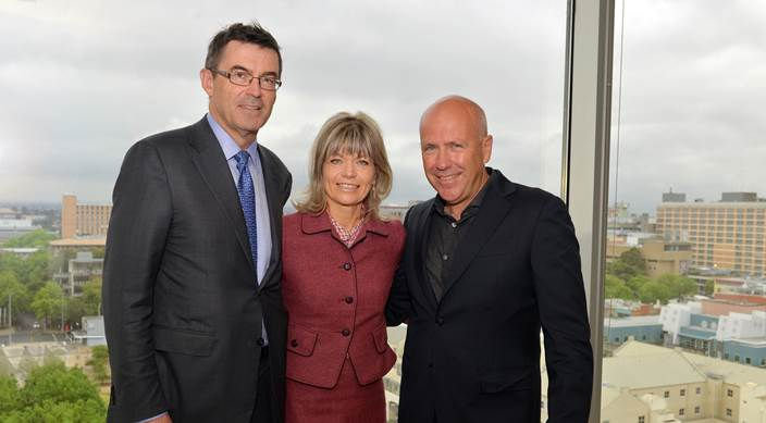 Image of Library Board President John Wylie AM, Mrs Myriam Boisbouvier-Wylie, and Australian author Richard Flanagan