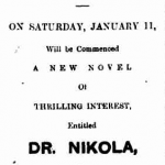 Advertising for Doctor Nikola serial. The Argus, 3 January 1896 p. 4.