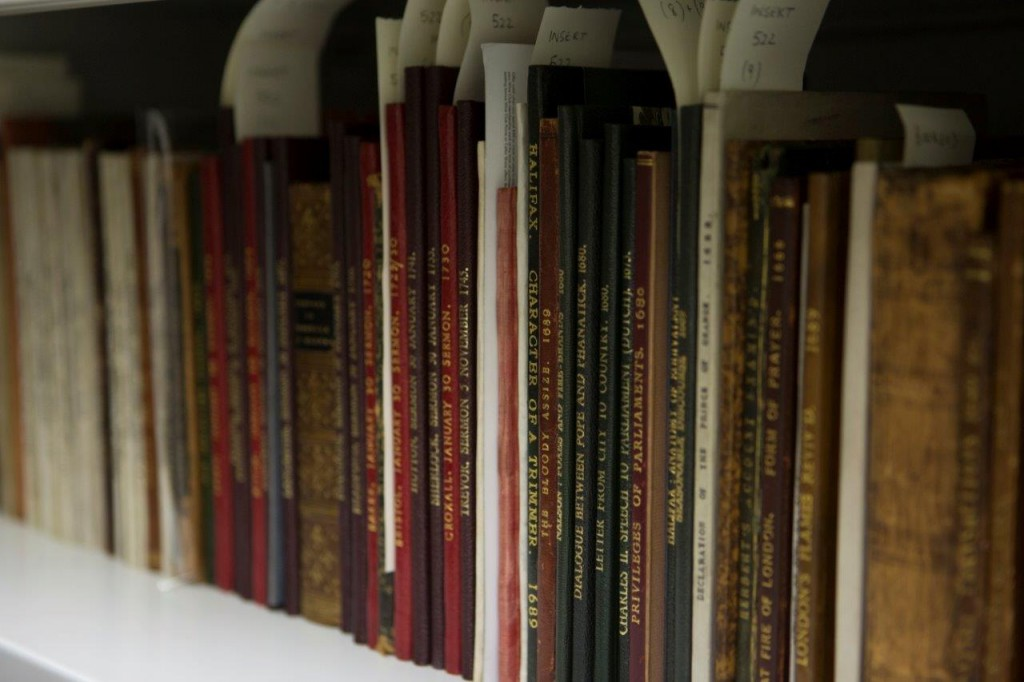 Image of rare pamphlets on a shelf