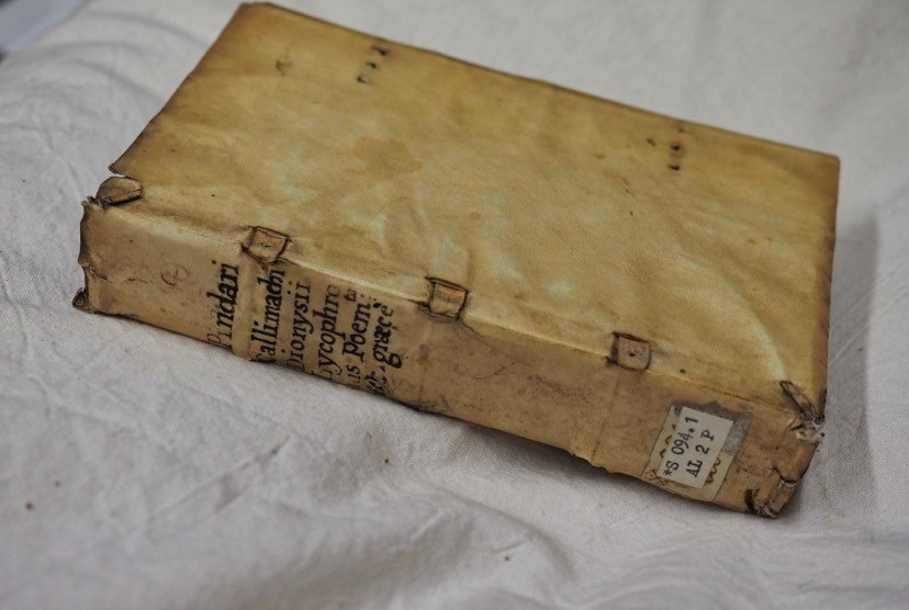 "Book cover. ""Pindarou. Olympia. Pythia. Nemea. Isthmia."" Published by Aldus Manutius, 1513. RARES 094.1 AL2P"