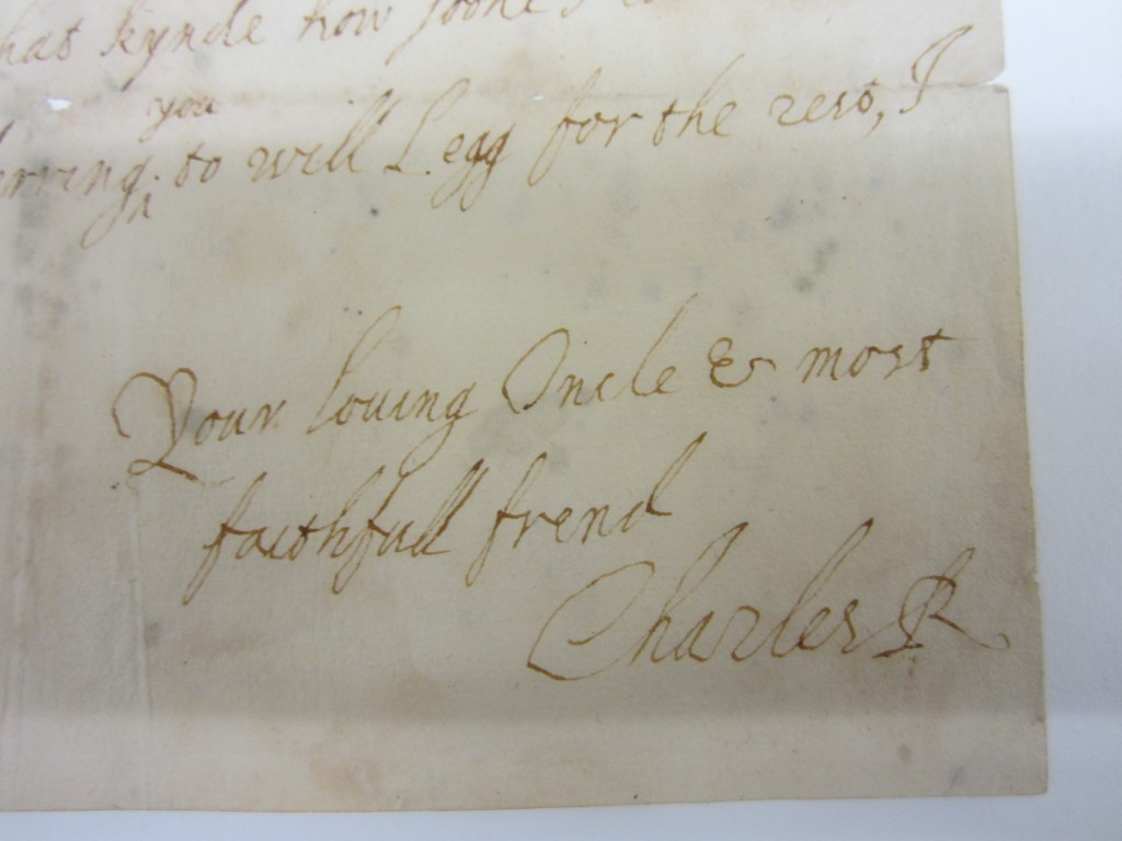 Detail of letter from Charles I to Prince Rupert.