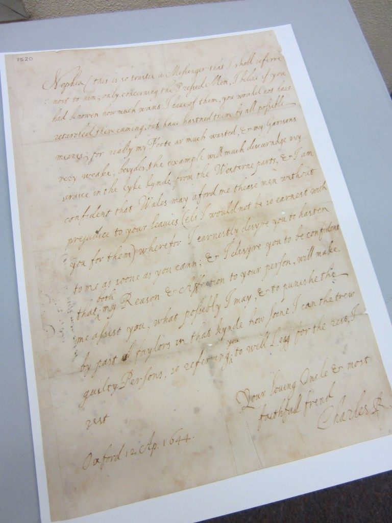 Image of a letter written from Charles I to Prince Rupert