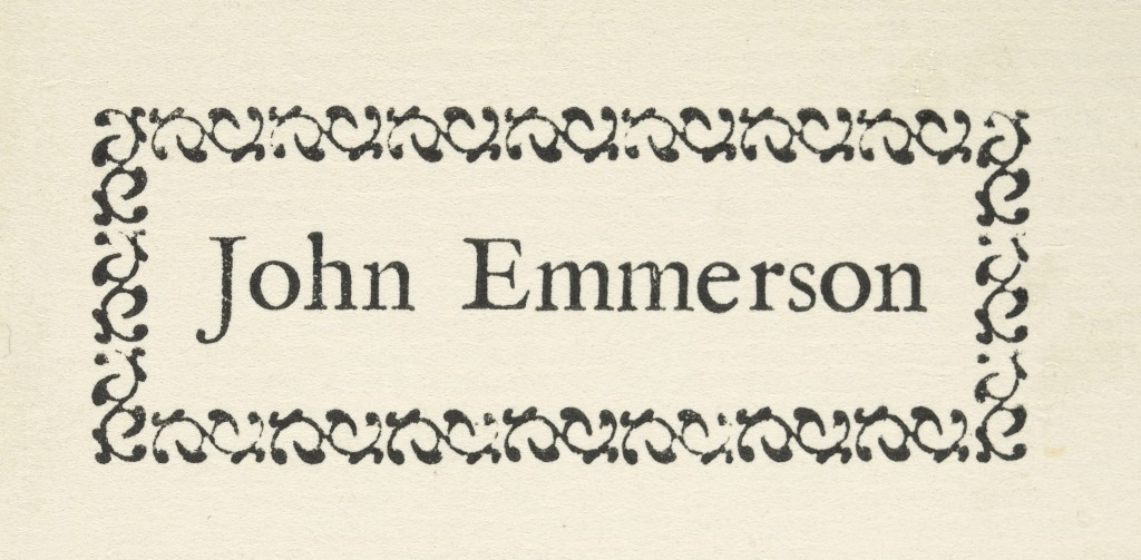 Image of John Emmerson's book label