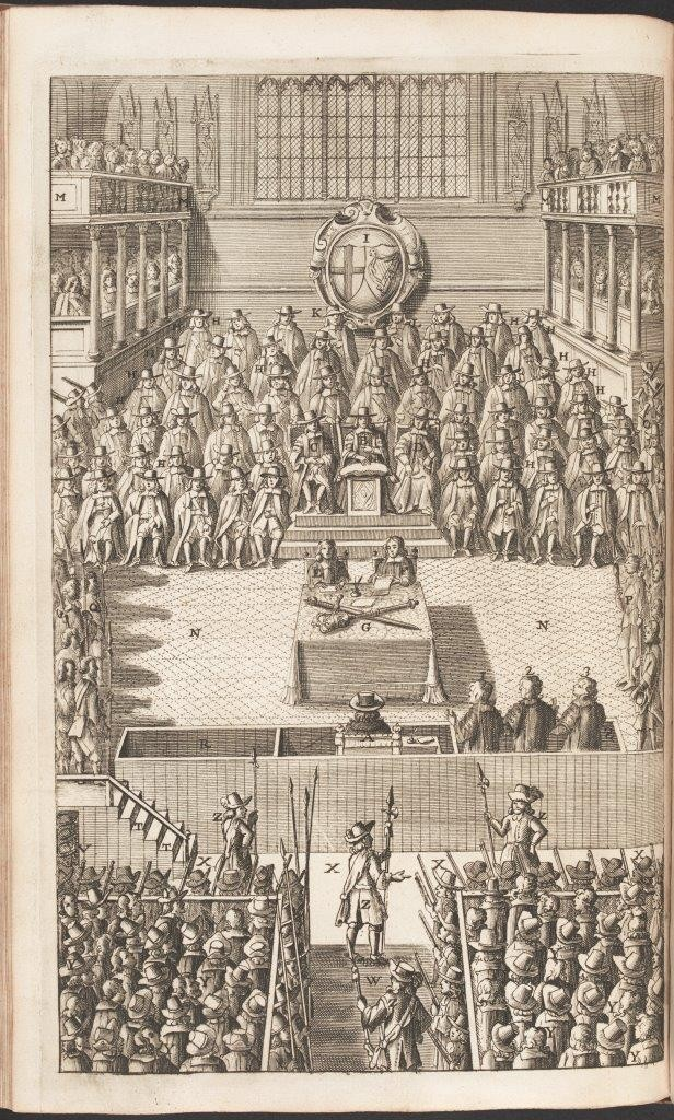 Image of an illustration of Charles I on trial