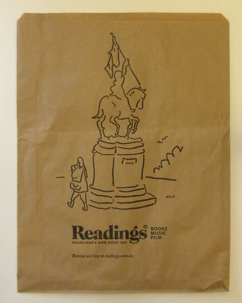 Image of a brown paper bag with an illustration of Joan of Arc