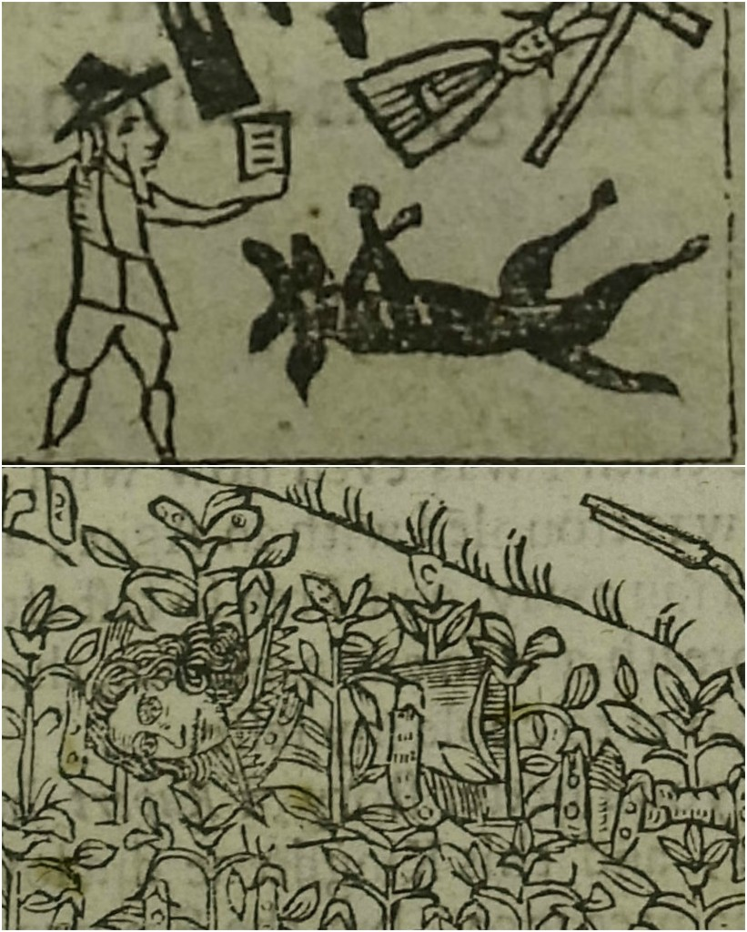 "Ruperts sumpter – detail, showing Rupert's dog ""Boy"", dead on the battlefield. Second detail showing Rupert hiding in the bean field after the battle of Marston Moor."