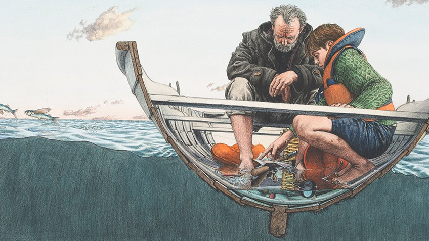 Image of a father and son in a boat
