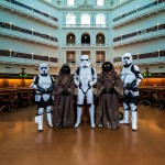 Shows Stormtrooper, Scouts & Jawas in the Domed Reading Room