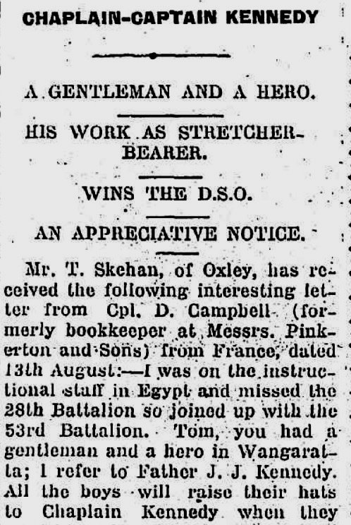 Newspaper clipping from the Shepparton News, 19 October 1916