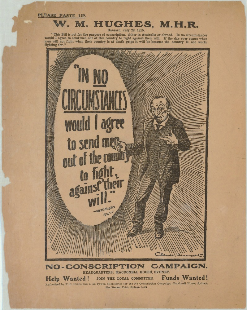 Image of conscription poster featuring a cartoon of Prime Minister Billy Hughes