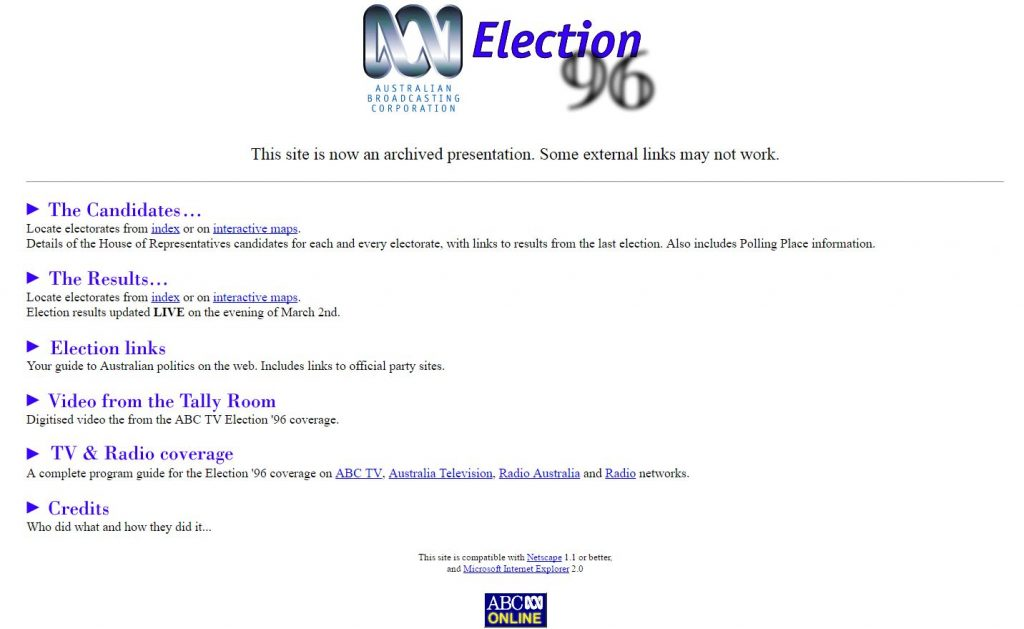 Election 96 web archive page