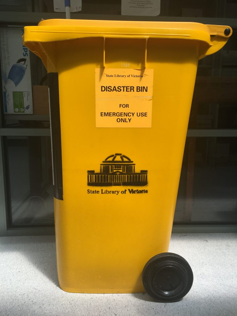 yellow disaster bin