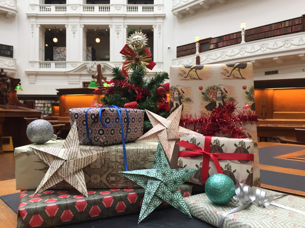 Image of Christmas presents in the State Library Victoria domed reading room