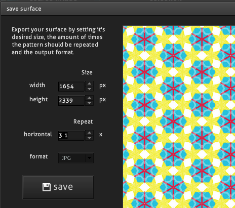 Screenshot of the output settings for the Repper tool.