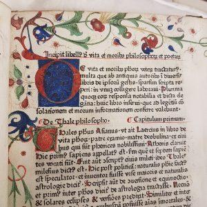 Detail of opening lines of the Liber de vita ac moribus philosophorum poetarum veterum (The lives and manners of the ancient philosophers and poets). Nuremberg, 1479, printed by Frederick Creussner, RARESF 093 C793