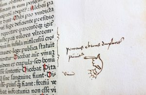 A manicule drawn by hand in the margins of the Liber de vita ac moribus philosophorum poetarum veterum (The lives and manners of the ancient philosophers and poets).