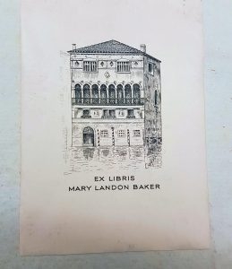 Mary Landon Baker's bookplate in the Georg Kloss's bookplate in the Liber de vita ac moribus philosophorum poetarum veterum (The lives and manners of the ancient philosophers and poets).