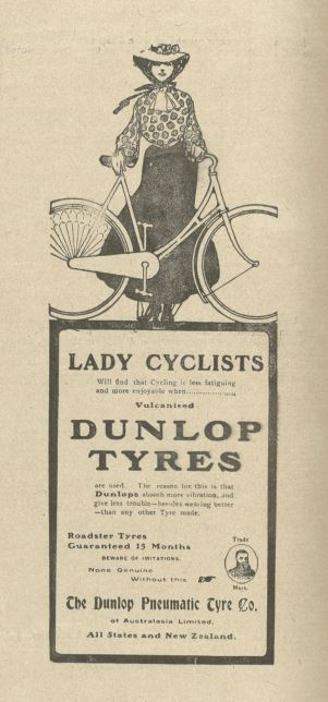 Image of an advertisement for tyres for lady cyclists