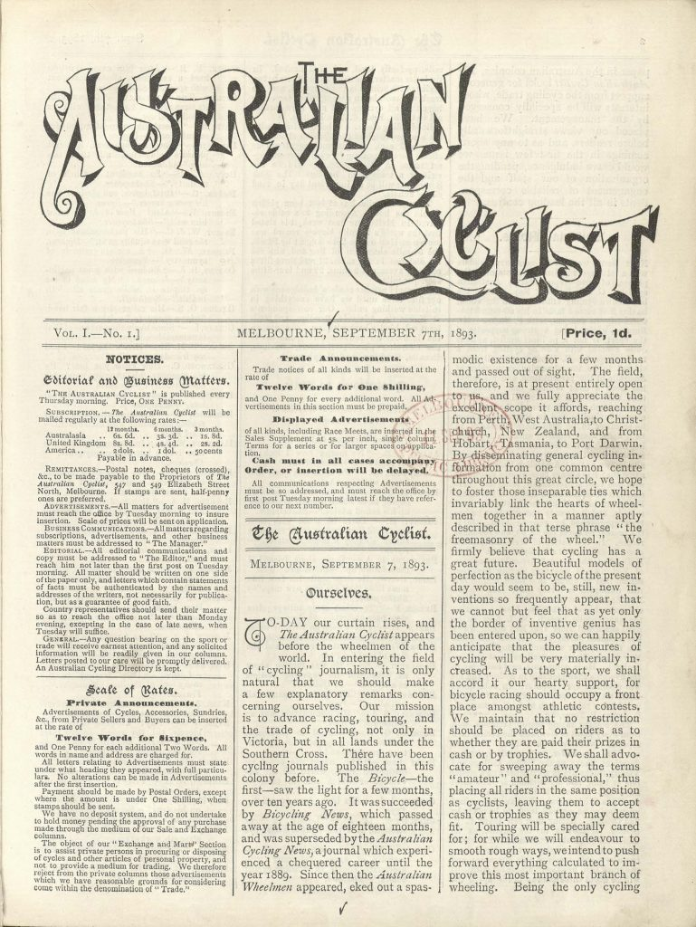 Front cover of the first issue of the Australian Cyclist
