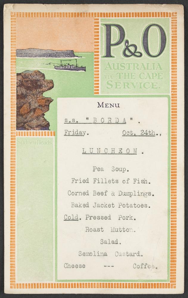 A menu from a cruise.